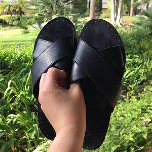 Frye black leather slides gold studs sandals